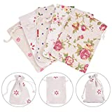NBEADS 25 Pcs 5 Kinds Flower Printing Linen Drawstring Bags Burlap Bags Floral Jewelry Gift Pouches for Wedding Party and DIY Craft, 3.9 x 5.5 Inch