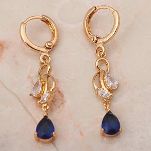 Chokushop Brand 18k Yellow gold plated Blue crystal Zirconia Dangle Drop earrings Health Nickel Lead free Fashion jewelry JE749A