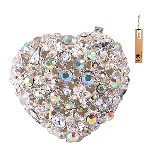 H&D Heart jeweled Trinket Box with Pearls and Crystals Ring Holder Creative Table Centerpiece (Crystal Ring Box)