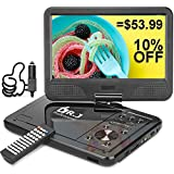 DR. J Professional 12.5' Portable DVD Player with 5 Hours Built-in Rechargeable Battery, USB Port, SD Card Slot, 10.5 Inch Internal Swivle Screen, Region-Free, 1.8m Car Adapter and Battery Adapter
