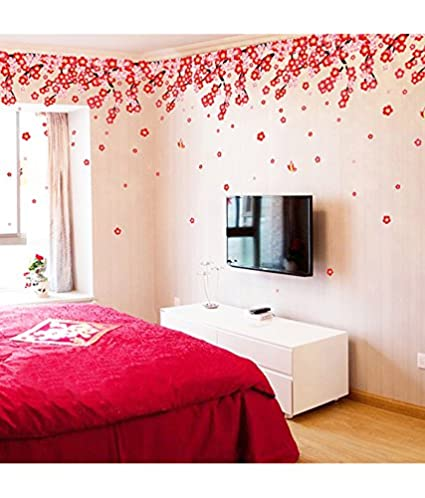 Decals Design Flowers Pink And Red Romantic Cherry Wall Sticker Pvc Vinyl 50 Cm X 70 Cm Multicolour