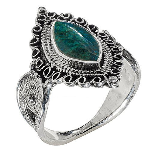 Statement Ring Eilat Stone Adroned Ring Marquise Shape Silver Filigree Ring Bohemian ()