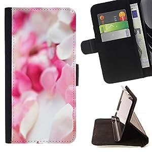 For Samsung Galaxy S4 Mini i9190 (NOT S4) Case , Pétalos de la flor blanca rosada Pila Decoración- la tarjeta de Crédito Slots PU Funda de cuero Monedero caso cubierta de piel