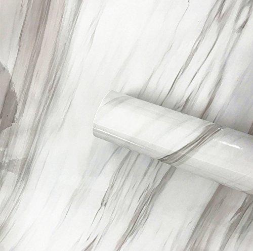 White Granite Look Marble Gloss Film Vinyl Self Adhesive Counter Top Peel and Stick Wall Decal 24''x60'' - 24' Granite Top