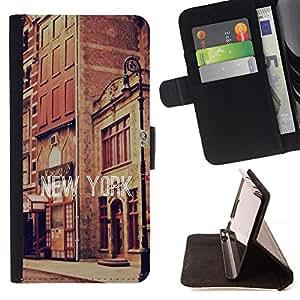 King Air - Prima caja de la PU billetera de cuero con ranuras para tarjetas, efectivo Compartimiento desmontable y correa para la mu?eca FOR Samsung Galaxy G360 G3608 G3606- New York City