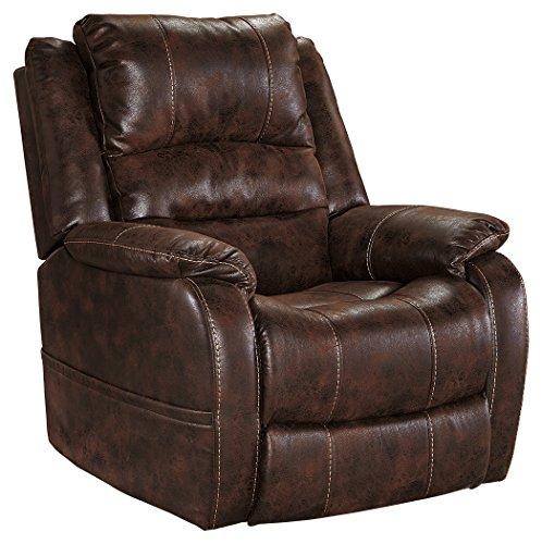 - Ashley Furniture Signature Design - Barling Luxury Faux Leather Power Recliner w/Adjustable Headrest - Contemporary - Walnut