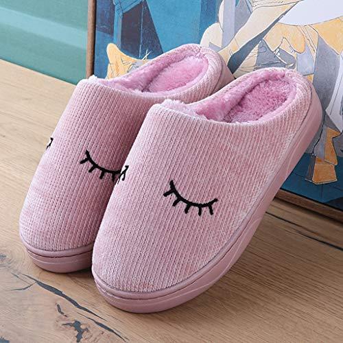 Plüsch Weibliches Nettes Haus größe Baumwollpantoffel AMINSHAP Haus besohlte Bunte Farbe Winter Pantoffel 39 Karikatur 40EU Pink Rutschfeste weich qtvtCw
