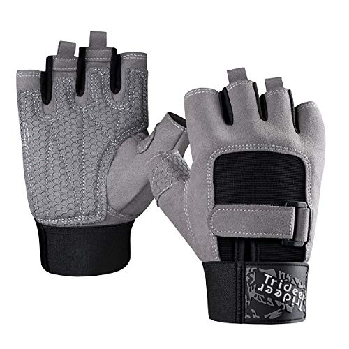 Trideer Padded Weight Lifting Gloves, Gym Gloves, Workout Gloves, Rowing Gloves, Exercise Gloves for Powerlifting, Fitness, Cross Training for Men & Women (A# Grey Basic, L (Fits 7.9-8.6 Inches))