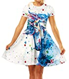 GLUDEAR Girls 3D Print Short Sleeve Unique Casual Flared Midi Dress,Unicorn,9-10T