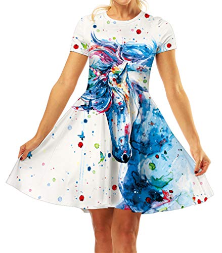 GLUDEAR Girls 3D Print Short Sleeve Unique Casual Flared Midi Dress,Unicorn,10-11T]()
