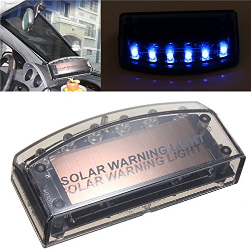 Fake Simulated Solar Vibration 6-Blue LEDs Light Car Alarm Security Flash Anti-Theft Burglar-Deterrent