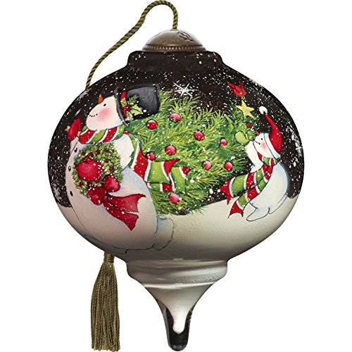 (Ne'Qwa Art Hand Painted Blown Glass Tis The Season Ornament, Snowman)