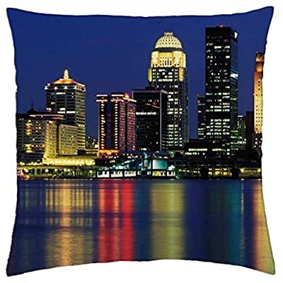 "Louisville-Skyline-Kentucky - Rainy man Pillow Cover Case (18"" x 18"")"