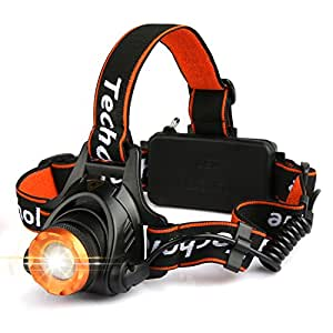 LED Head Torch Headlight, Techole USB Rechargeable Headlamp with XM-L T6 LED, 2000 Lumens Zoomable, Adjustable Headlight Flashlight for Running Walking Cycling Camping Hunting Hiking Outdoor Lighting