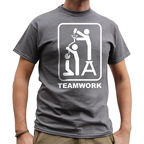 Nutees Mens Teamwork Drinking Pub Stag Night Costume Party Funny T Shirt Charcoal Grey XX-Large - Beer Hop Costume