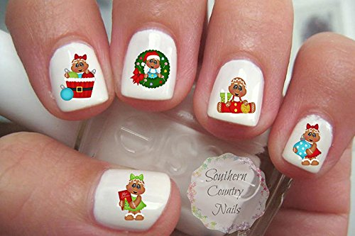 (Cute Christmas Gingerbread Design #2 Nail Art Decals)
