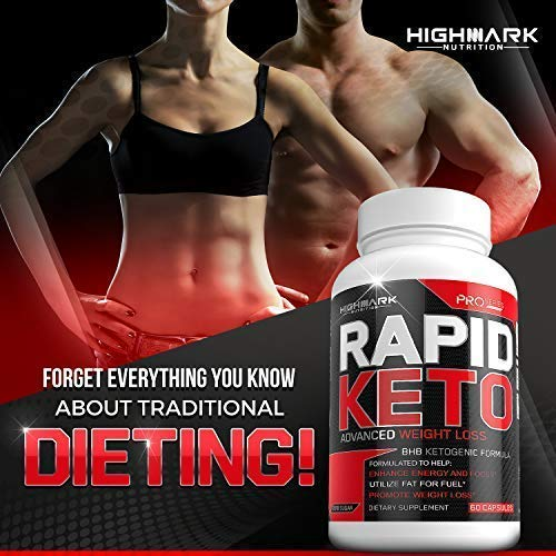 Rapid Keto Diet Pills | Advanced Ketogenic Diet Weight Loss Supplement | BHB Salts Exogenous Ketones Capsules for Men & Women | Fast & Effective Ketosis Diet Fat Burner | Promote Energy & Focus | 60 by HighMark Nutrition (Image #9)