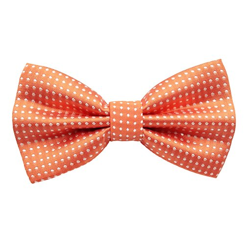 Bowties Orange (Mens Classic Polyester Polka Dots Bow Ties Pre-tied (Orange))
