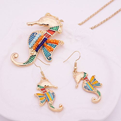 2017 Summer Colorful Sea Horse Enamel Necklace Earrings Set For Women Choker Collar Chain Animal Jewelry Set (gold)