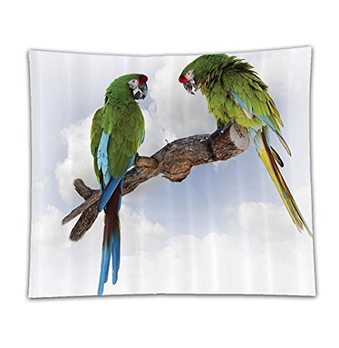 Beshowereb Fleece Throw Blanket Parrots Decor Set Two Parrot Macaw on a Branch Talking Birds Gifted Clever Creatures of the Nature Ext
