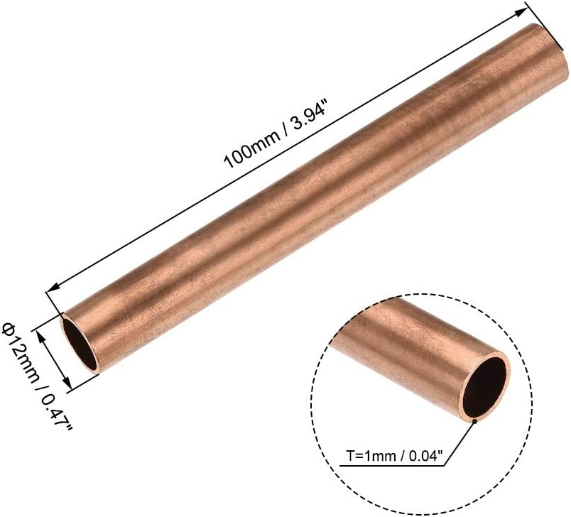 300mm Long Hollow Straight Tube 200mm BTCS-X 1PCS Copper Round Tube 8mm-30mm Outer Diameter 100mm Used For Cooling Water Heating Tool Generator Copper Tube-cable Switch Equipment-DIY