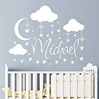 Name Wall Decal Boy Clouds Nursery Decals Moon Decal Stars Wall Vinyl Sticker. Name For Son's Nursery Wall Decor. Baby Name Wall Decal F68