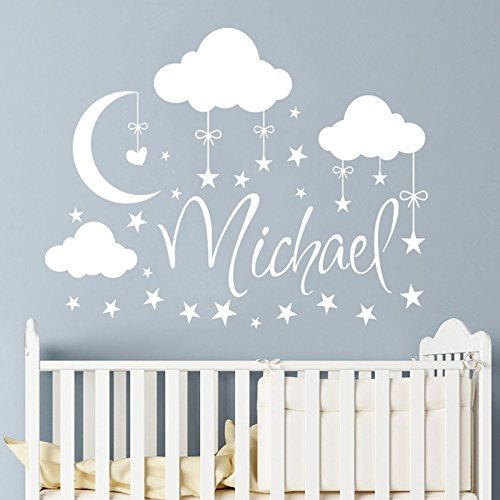 Name Wall Decal Boy Clouds Nursery Decals Moon Decal Stars Wall Vinyl  Sticker. Name For