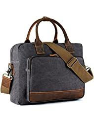 Kattee Mens Canvas Briefcase 14 Laptop Tote Handbag Travel Shoulder Bag