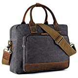 Kattee Men's Canvas Leather Briefcase 14'' Laptop Tote Handbag Travel Shoulder Bag