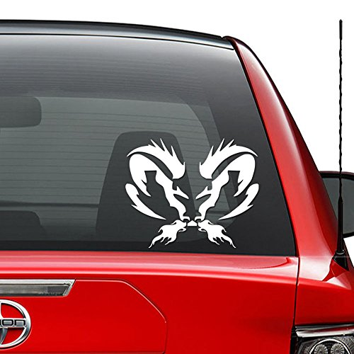 Flaming Tribal Ram Skull Vinyl Decal Sticker Car Truck Vehicle Bumper Window Wall Decor Helmet Motorcycle and More - (Size 9 inch / 23 cm Wide) / (Color Matte -