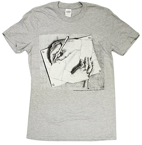 "MC Escher ""Drawing Hands"" Art Print Men's Soft Style Ring Spun T-Shirt"