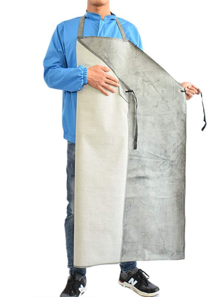 Men PVC Oil Resistant Long Rubber Thick Apron Factory Kitchen Garden Slaughter Labor Outsides Multi Fuction Plus Size Working Safe Apron (black&white)