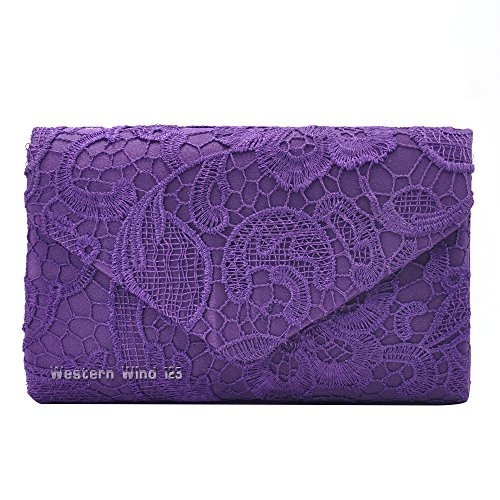 Handbag Ladies TM Bridal Wocharm Clutch Bag Lace Bag Evening Envelope Bag Purple Bag Prom Wedding CfPPxqSw