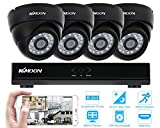 KKmoon 4 Channel NVR HD 960H / D1 Video Security System with 4-Piece 800TVL Bullet Cameras, 50ft IR LED Night Vision, IR-CUT Night View CCTV IP Cameras, Smartphone View Support, Plug it and Play it