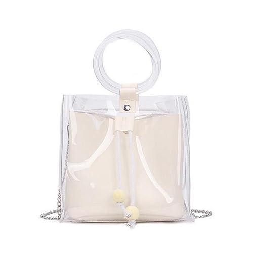 nouvelle arrivee 894aa 54abd JIANGfu Femme mode Sac à Main Cabas Femme Transparent de ...