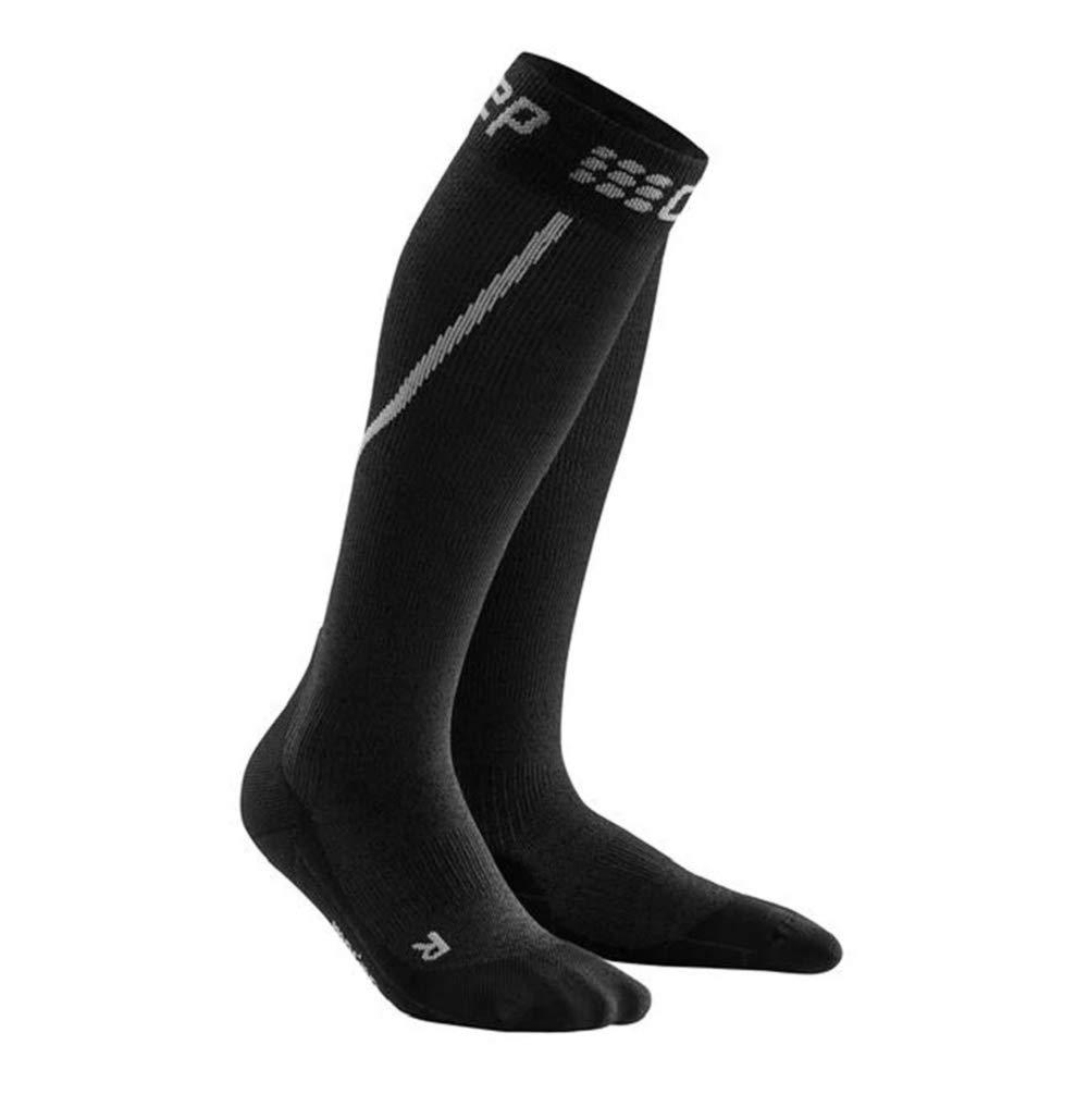 Mens Long Compression Wool Sock - CEP Trail Merino (Grey/Black) V by CEP