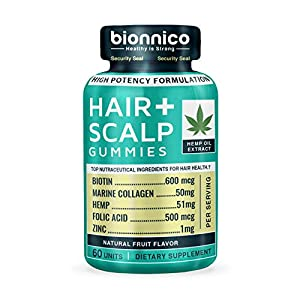 60 Hair Loss Gummies with Hemp-Biotin-Collagen-Zinc-Folic Acid // Hair Loss and Scalp Stimulating Formula – Scientifically formulated for Hair Regrowth, Hair Thickening and Scalp Skin Health.