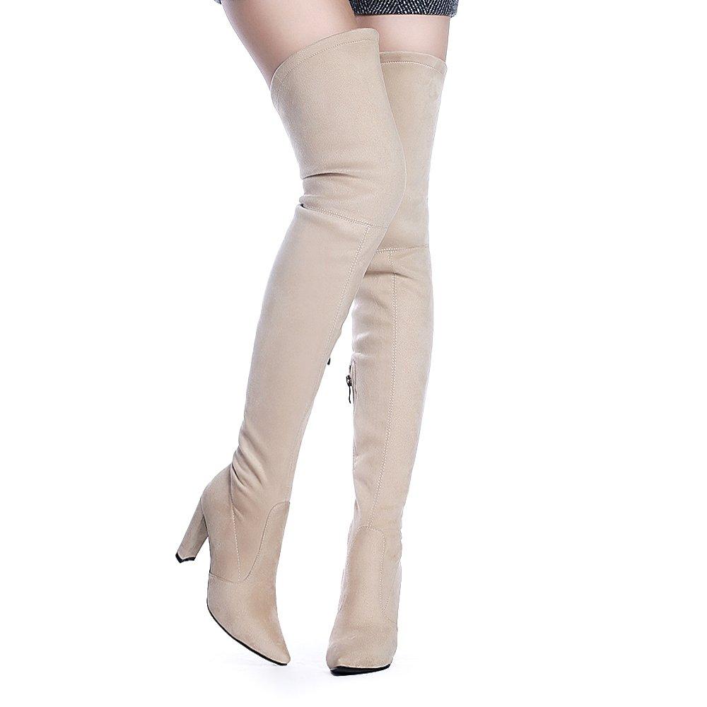 de42459bd43b7 ShoeN Tale Women Stretch Suede Chunky Heel Thigh High Over The Knee Boots