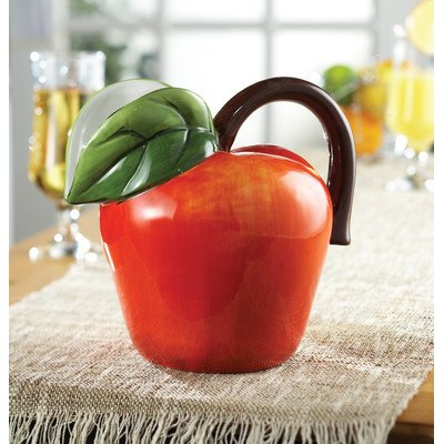 UPC 088235093899, Fresh Fruit Ceramic Apple Pitcher in Red