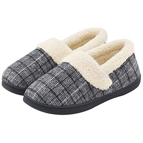 HomeIdeas Women's Woolen Fabric Plaid House Slippers, Anti-Slip Autumn Winter Indoor / Outdoor Shoes