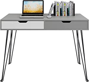 """GHQME Multifunctional Computer Desk 43"""" with 2 Drawers Home Office Desk Writing Study Desk Vanity Table Vanities - Gray"""