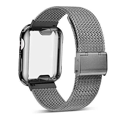 YC YANCH Compatible with Appla Watch Band 38mm with Case, Stainless Steel Mesh Band with Appla Watch Screen Protector Compatible with iWatsh Appla Watch Series 1/2/3/4 (38mm Space Gray)