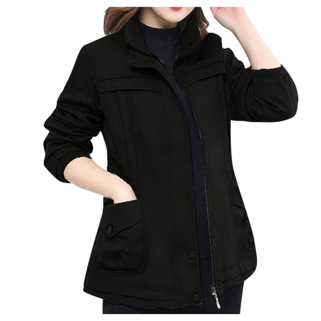 Fashionhe Women's Jacket Winter Outwear Solid Color Coat Long-Sleeved Windshield Cardigan Overcoat(Black.5XL) by Fashionhe