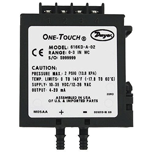 """Dwyer 616KD-LR-B42-BD1, DP Transmitter, Low Range - ±0.25"""" wc with 1.0 % acc, Barb Connection, 4-20 mA & 0-10V output"""