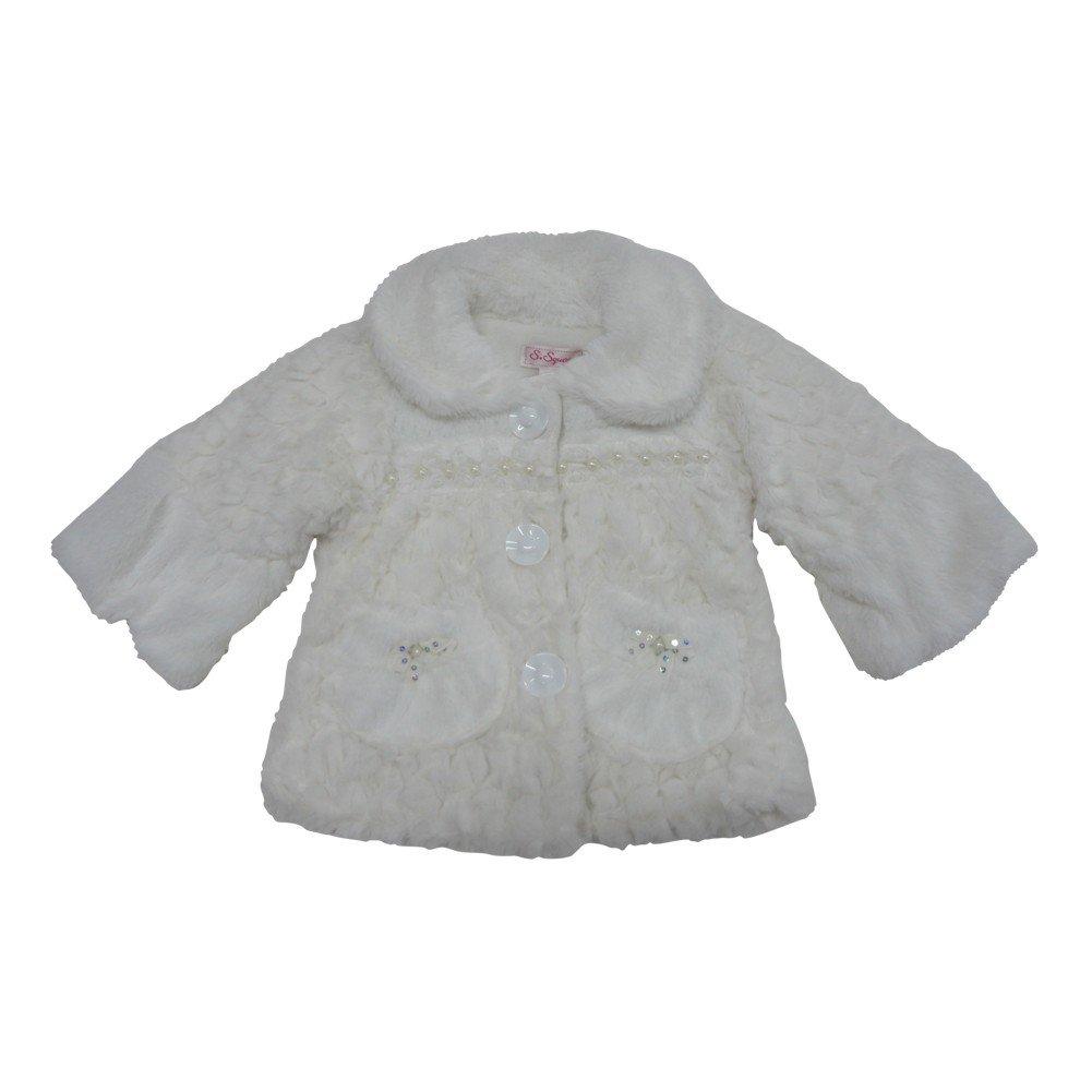 Little Girls Off-White Rose Lace Detail Soft Button Faux Fur Jacket 2-4T