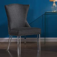 Armen Living LCJACHCH Jade Dining Chair in Charcoal Fabric and Acrylic Finish