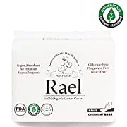 Rael Certified Organic Cotton Menstrual Overnight Pads - 4Pack/32 total - Thin Natural Sanitary Napkins With Wings (4 Pack)