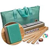"Yellow Mountain Imports American Mahjong Set with 166 Tiles, Soft Case, Racks with Pushers, and Accessories, ""Pepper"""