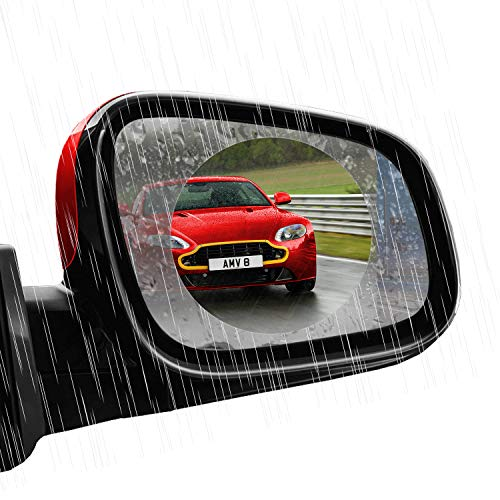 DONWELL 4Pcs Rear View Mirror Film Waterproof and Anti-Fog for Car Glass Rainproof Anti Fog Mist Bubble Free Protective Sticker for Rearview Mirror Transparent Nano Coating Accessories for Window - Rear Moulding