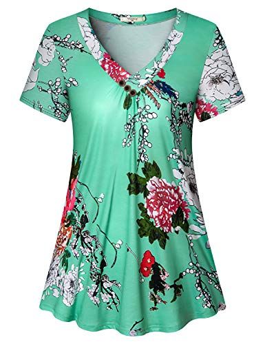 (Viracy Floral Shirts for Women, Ladies Pintuck Tunics Career Blouses Petite Short Sleeve V Neck with Button Stunning Summer Clothes Relax Fit Shiny Flowing Long Tops Vacation Office Attire Green M)